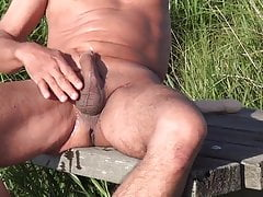 18 inch dildo in the sun, cum, water