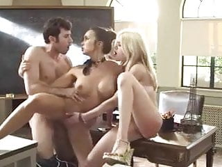 .Japanese Teacher Threesome with American Students.