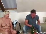 Blonde granny in white lingerie pleases son-in-law