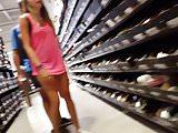 Candid voyeur teen in pink shirt best legs