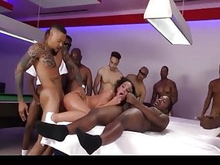 Gangbang Interracial Double Penetration video: Amara Romani gets gangbangws from 14 black cocks
