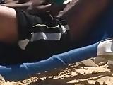 black friends have fun on the beach