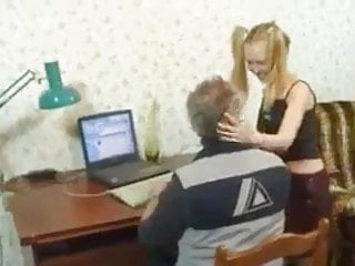 Russian Teen Small Tits video: HYE Grandpas Lovely Little Pigtailed Girl !
