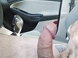 Hairy Bear Jerking off while driving...Nice big cum Shot