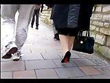 Granny in stilettos walks