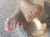 Candid Ebony Toes At Library