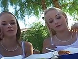 pov suck and fuck with blonde twins