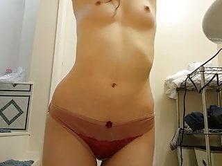Tits Brunette Skinny video: Rebecca Stiles bathroom play