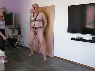 German Bdsm porno: Heavy cock and ball whipping by my lady