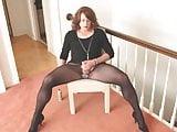 Crossdresser Ashley Lynn strokes her cock and cums