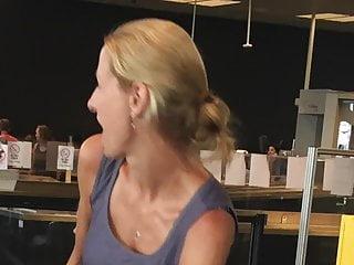 Blonde Milf Upskirt video: Upskirt of milf in flowery dress