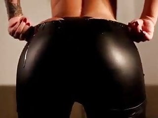 Big Ass Spandex video: leather leggings and thong