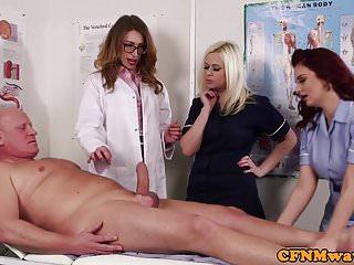 Handjobs Cfnm Babe video: CFNM doctor babe teaches nurses how to suck