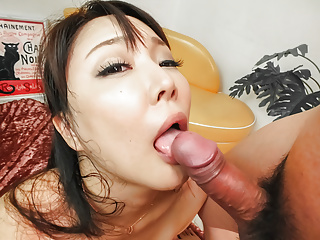Asian Japanese Blowjob video: Double pleasure for the busty Asian wi - More at Slurpjp.com