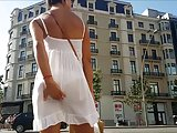 Sexy crown of transparent white dress in Barcelona
