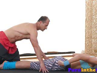 Dicksucking gym babe gets doggystyled