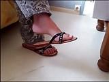 candid mature feet in flip-flop