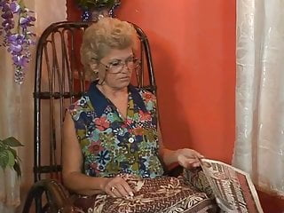 Double Penetration Mature Granny video: Granny Effie fucked with a TV repairman in the ass and pussy