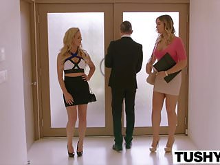 .TUSHY Blair Williams Has A HOT Anal Lesson Threesome.