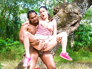 CHICAS LOCA - Hot interracial sex in a tree outdoors