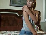 Roofkina sexy teen caresses herself