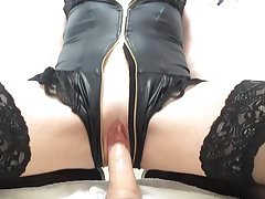Morning dildo ride with squirting pussy juices