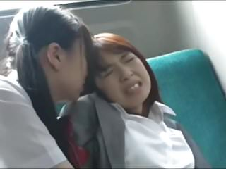Lesbians Asian Japanese video: Asian Schoolgirl Has Fun with Teacher on Bus