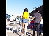 Candid voyeur thick teen tight shorts at fair