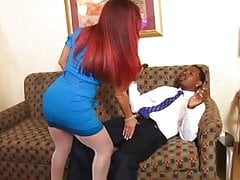 Red-haired MILF gets her juicy box licked by black stud