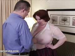 The secretary has big tits and needs fucking