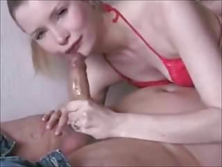 Shameless cocksucker: Blonde Tilda eating cock
