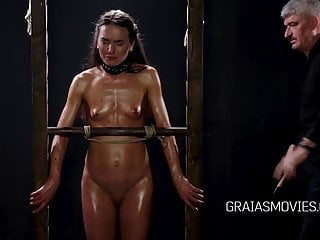 Slave Whipping Clamped video: Nataly Gold caned and clamped