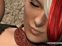 3D Babe hat ihre Titten und Muschi draußen gefickt