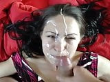 Amateur MILF taking a huge facial