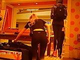 Nerdy hot blonde at Victoria Secret!