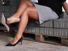 Twardy seks z nylonowymi nogami i stopami