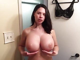 Milf huge fake talk about her tits and bra then change it