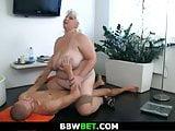 Mega-tits chubby blonde gf rides his cock