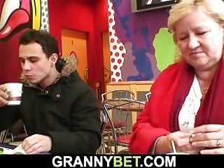 Milfs Grannies xxx: Grandma with huge boobs rides his young cock
