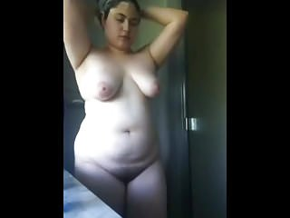 Teen bbw strips in the shower
