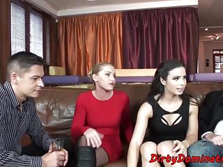 Femdom Gorgeous European video: Gorgeous domina watching her bf screwing sub