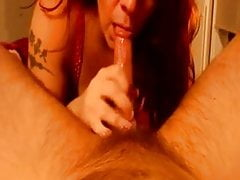 Redhead Wife Gives Sloppy Deepthroat BJ