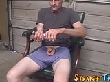 Straight lean youngster stroking his swollen dick