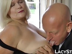 Blonde Lacey Starr Railing Granddad Pipe Before Jizm On Tits