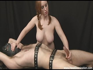 Femdom Big Tits Handjob video: big natural tits and red hair