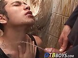 Amateur twink receives a golden shower