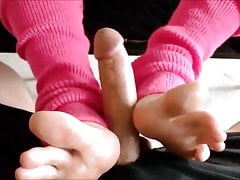 Footjob rose jambières