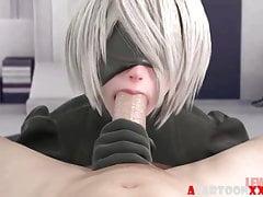 Blonde 3D Nier von Big Dick Compilation gefickt