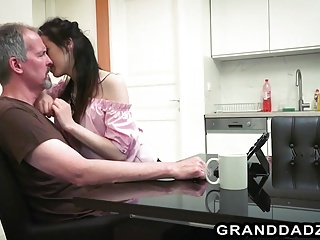 Oldyoung Small Tits Skinny video: Skinny petite Vera seduces senior Steve Steel