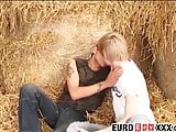 Blond twink cums after a thorough rimming and boner riding